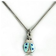 Sterling Silver   Blue Enamel Ladybug   Necklace with Enamel