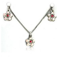 Sterling Silver   Flower   Necklace and Earrings with Enamel Set
