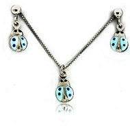 Sterling Silver   Blue Ladybug   Necklace and Earrings with Enamel Set