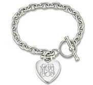 Sterling Silver Tiffany Style Engravable Bracelet W  Toggle Lock