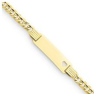 14k Yellow Gold Concave Curb Children s Heart ID Bracelet