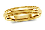 14K Yellow Gold Milgrain Comfort Fit Wedding Bands