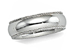14K White Gold Milgrain Wedding Bands