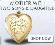Mother with Daughter and Two Sons Lockets