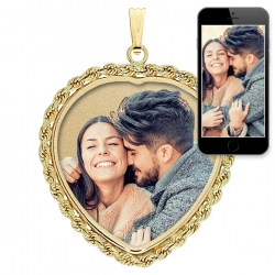 Heart with Rope Frame Photo Pendant Picture Charm