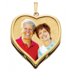 14K Large Heart w  Bezel Frame Photo Pendant Picture Charm