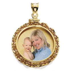 14k Gold Eagle Ribbon Round Picture Pendant