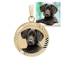 Petite Round Photo Engraved Charm w  Bezel Frame