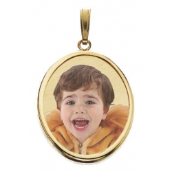 Small Oval w Bezel Frame Photo Pendant Picture Charm