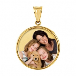 Medium Round w  bezel frame  amp  Protective Crystal Photo Pendant