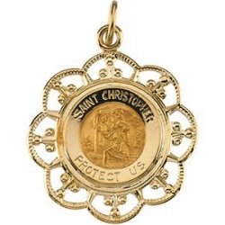 14K Gold Saint Christopher Medal