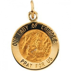 14K Gold Our Lady of Lourdes Medal