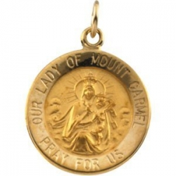14k Gold Our Lady of Mt Carmel Medal