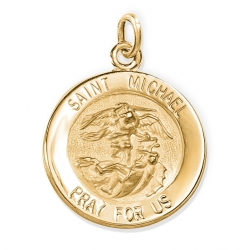 14K Gold Saint Michael Medal