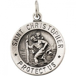 14K White Gold Saint Christopher Medal