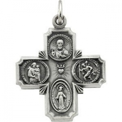 14K White Gold Four Way Medal