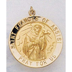 14K Gold Saint Francis of Assisi Medal