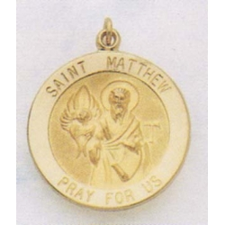 14K Gold Saint Matthew Medal