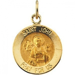 14K Gold Saint John the Evangelist Medal