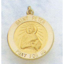 14K Gold Saint Peter the Apostle Medal