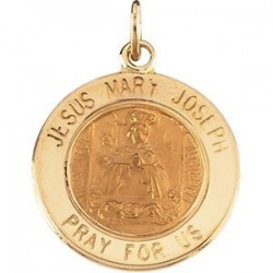 14K Gold Jesus  Mary and Joseph Medal