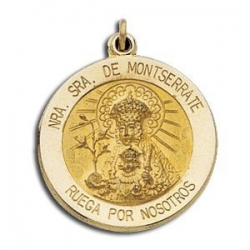 14K Yellow Gold Our Lady of Montserrate Medal
