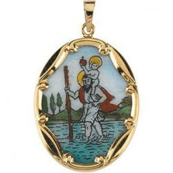 14K Gold and Porcelain Saint Christopher Medal