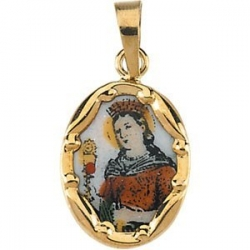 14K Gold and Porcelain Saint Barbara Medal
