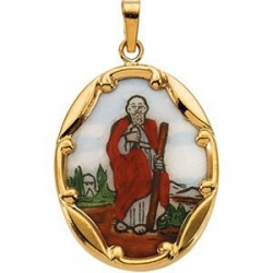 14K Gold and Porcelain Saint Jude Medal