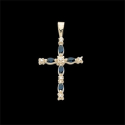 CROSS PENDANT W SAPPHIRE AND DIAMONDS  s R41009S