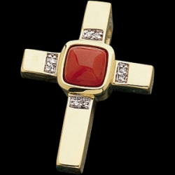 CORAL CROSS PENDANT WITH DIAMONDS  s R41204