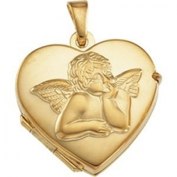 Solid 14K Gold HEART SHAPED LOCKET W ANGEL