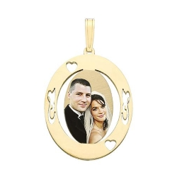 Small Oval w  Cut Out Designs Photo Pendant Picture Charm