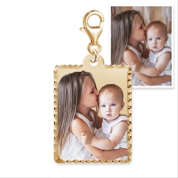 Petite Rectangle w  Diamond Cut Edge photo pendant charm