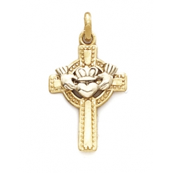 14k Yellow Gold Claddah Celtic Cross
