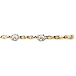 14k White   Yellow Gold Claddagh Bracelet