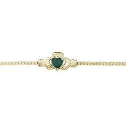 14k Yellow Gold Claddagh Bracelet W  Synthetic Emerald