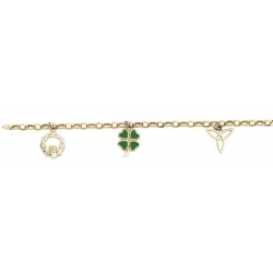 14k Yellow Gold Claddagh Charm Bracelet W  3 Charms  enamel