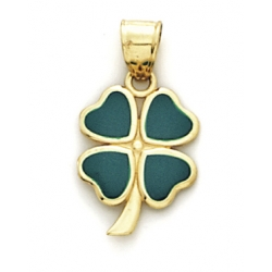 14K Yellow Gold Four Leaf Clover Enameled Charm
