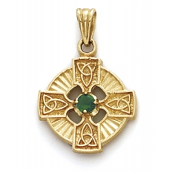 14K Yellow Gold Four Leaf Clover Charm W  Synthetic Emerald