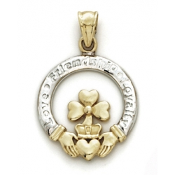 14K Yellow Gold   White Gold Claddagh Charm