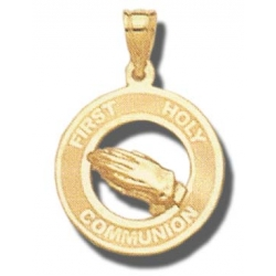 14K Yellow Gold Holy Communion Medal