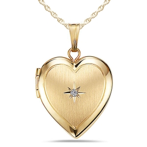 Solid 14k Heart Locket w/ Genuine Diamond