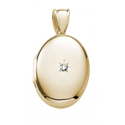 Solid 14K Yellow Gold Premium Weight Diamond Oval Locket
