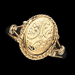 14k Yellow Oval Locket Ring