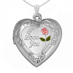 Sterling Silver  I Love You  Heart Picture Locket