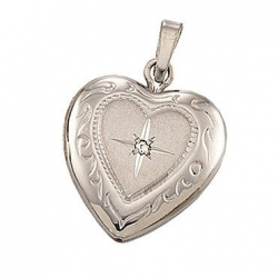 14k White Heart Shape With Diamond Picture Locket
