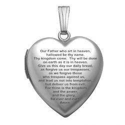 14k White Gold  Our Father  Heart Locket