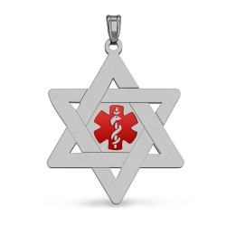 STAINLESS STEEL JEWISH STAR WITH RED ENAMEL MEDICAL EMBLEM