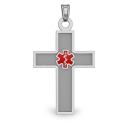 STAINLESS STEEL CROSS WITH RED ENAMEL MEDICAL EMBLEM